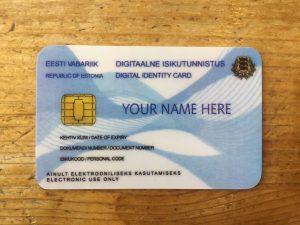 An example ID card at the e-Estonia Showroom